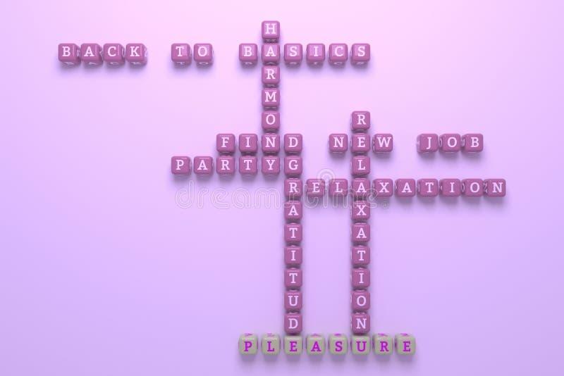 Vergnügen, glückliches Schlüsselwortkreuzworträtsel F?r Webseite, Grafikdesign, Beschaffenheit oder Hintergrund Wiedergabe 3d vektor abbildung