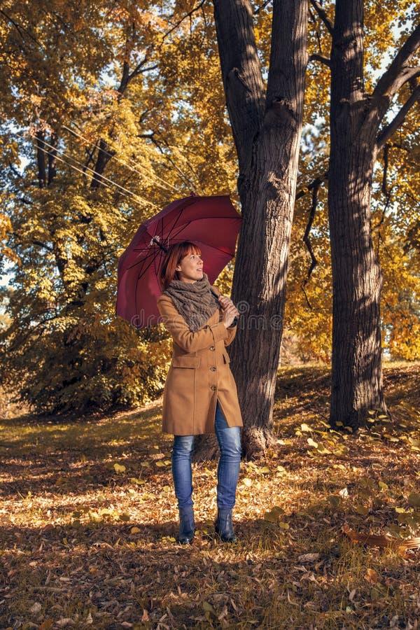 Vergnügen im Herbstwald - Frau mit rotem Regenschirm auf Herbstparkplatz lizenzfreie stockfotos
