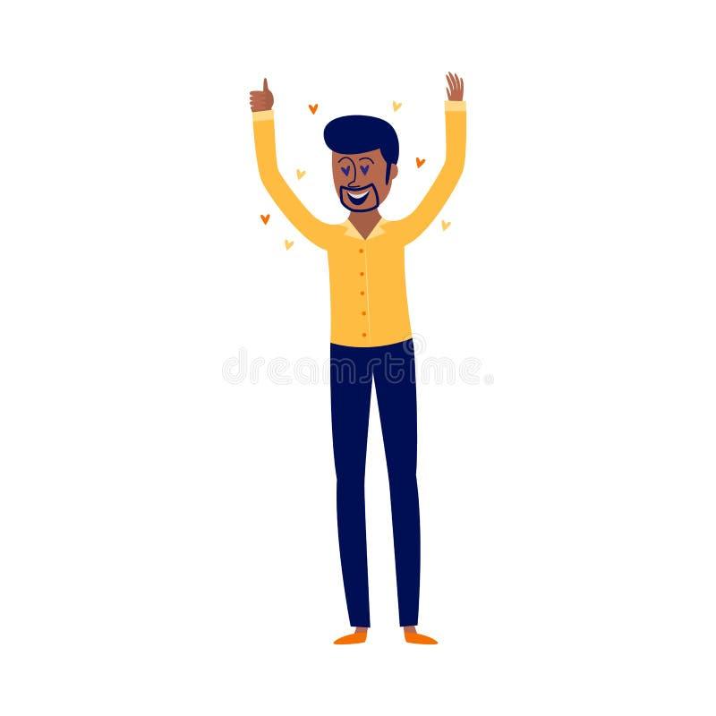 Vergnügen und verliebtes Konzept mit begeistertem afrikanischem Mann mit gleicher Geste lizenzfreie abbildung