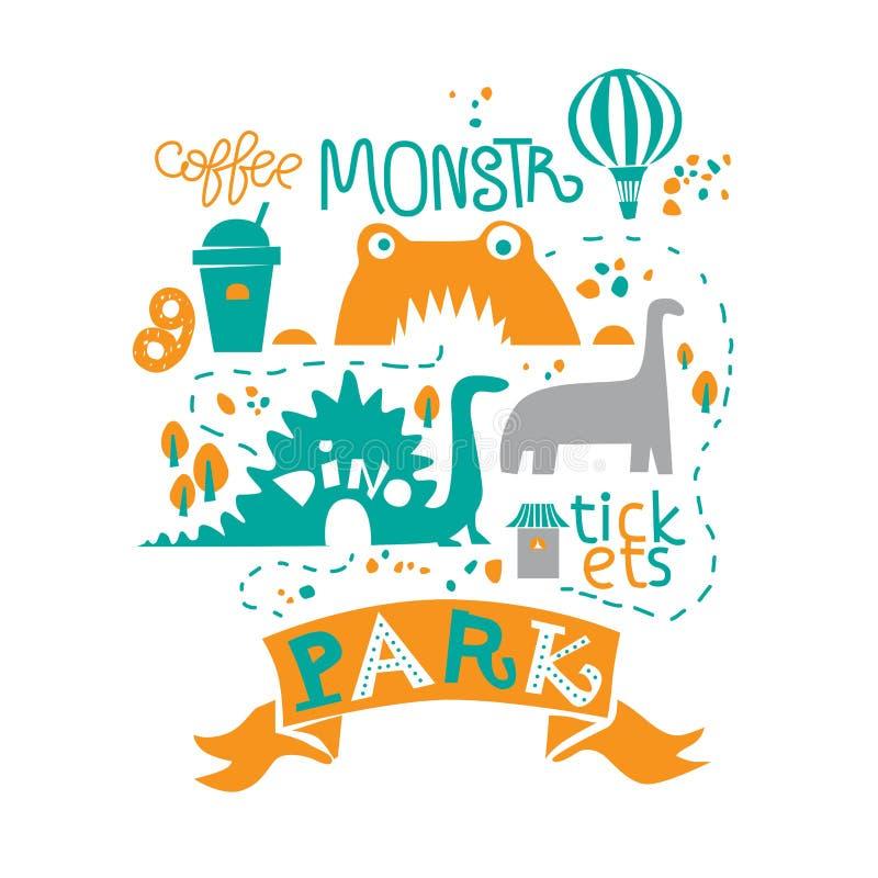 Vergnügungspark für die ganze Familie, die Anziehungskräfte und die Gehwege, der Teich und die Eiscreme, der Kaffee und der Zirku lizenzfreie abbildung