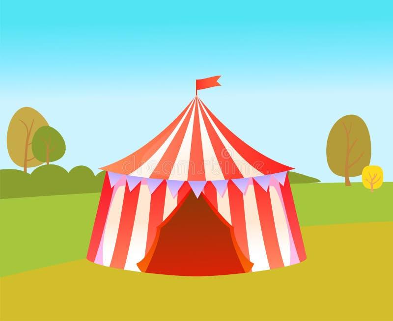 Vergnügungspark mit Zelt für Zirkus-Leistungen stock abbildung