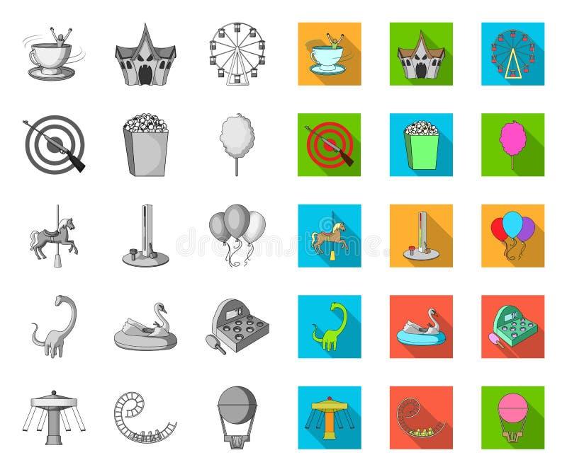 Vergnügungspark mono, flache Ikonen in gesetzter Sammlung für Entwurf Ausr?stungs- und Anziehungskraftvektorsymbol-Vorratnetz stock abbildung