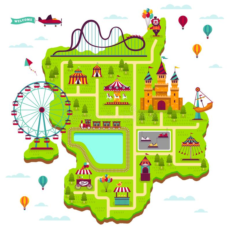 Vergnügungsparkkarte Entwurfselement-Anziehungskraftfestival unterhalten Funfairfreizeitfamilienrummelplatzkinderspiel-Karikaturk lizenzfreie abbildung