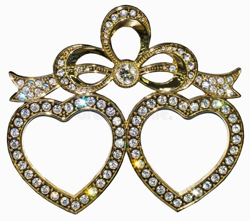 Vergoldeter Fotorahmen eingelegt mit Bergkristallen in der Form von Herzen stockfoto