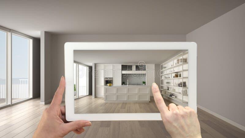 Vergrößertes Wirklichkeitskonzept Handholdingtablette mit AR-Anwendung verwendete, um Möbel- und Entwurfsprodukte in leerem zu si lizenzfreie abbildung