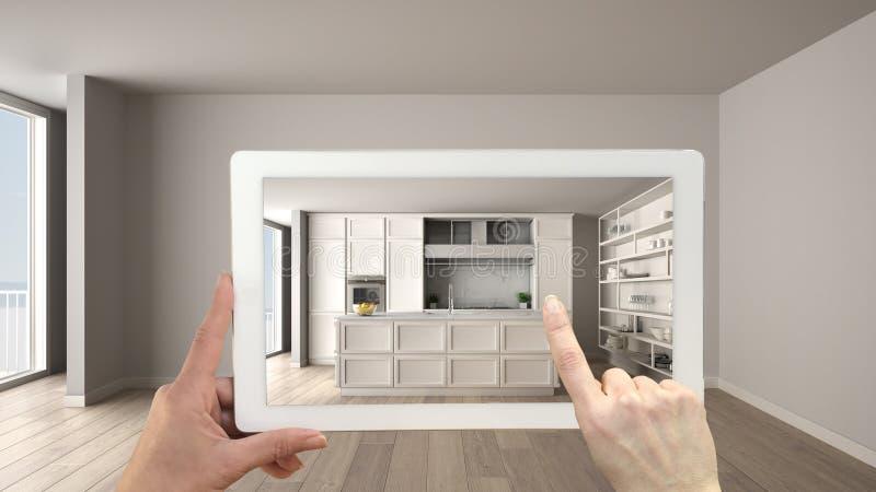 Vergrößertes Wirklichkeitskonzept Handholdingtablette mit AR-Anwendung verwendete, um Möbel- und Entwurfsprodukte in leerem zu si lizenzfreies stockbild
