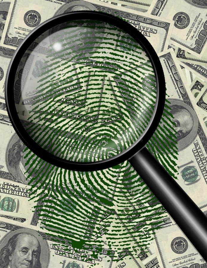 Vergrößern Sie Glas und Fingerabdruck US-Währung stock abbildung