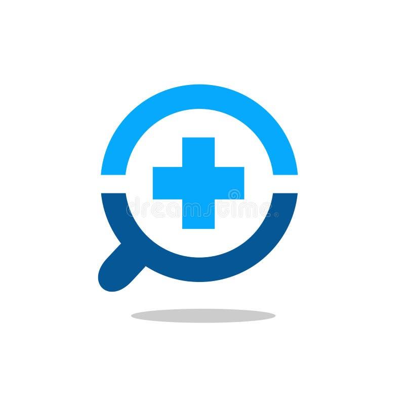 Vergrößern Sie Glas und Quer-Logo Symbol-, positives oder medizinischessymbol mit Lupen-Ikone vektor abbildung