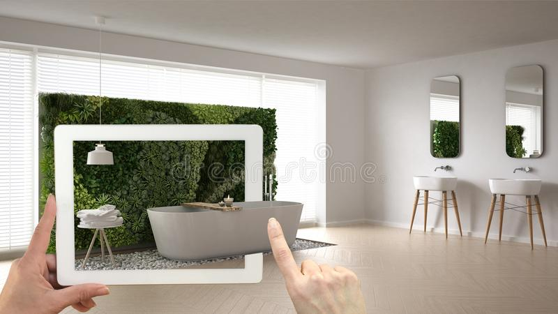 Vergrößertes Wirklichkeitskonzept Übergeben Sie das Halten der Tablette mit AR-Anwendung, die verwendet wird, um Produkte der Möb stock abbildung