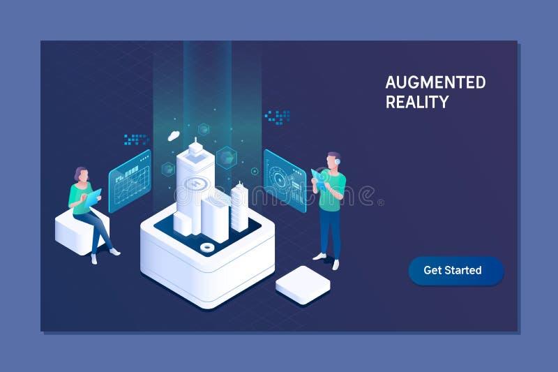 Vergrößertes Wirklichkeitskonzept Geschäft, vergrößerte Wirklichkeit und Zukunfttechnologiekonzept vektor abbildung