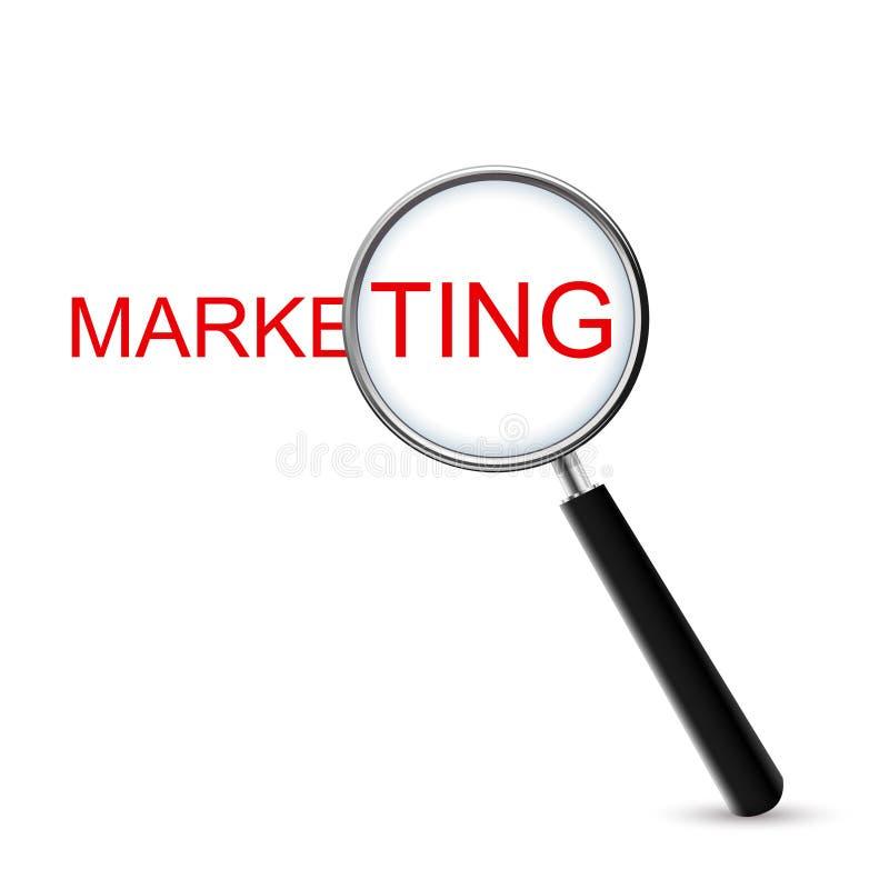 Vergrößerungs- Glas - Marketing, lokalisiert auf weißem Hintergrund stock abbildung