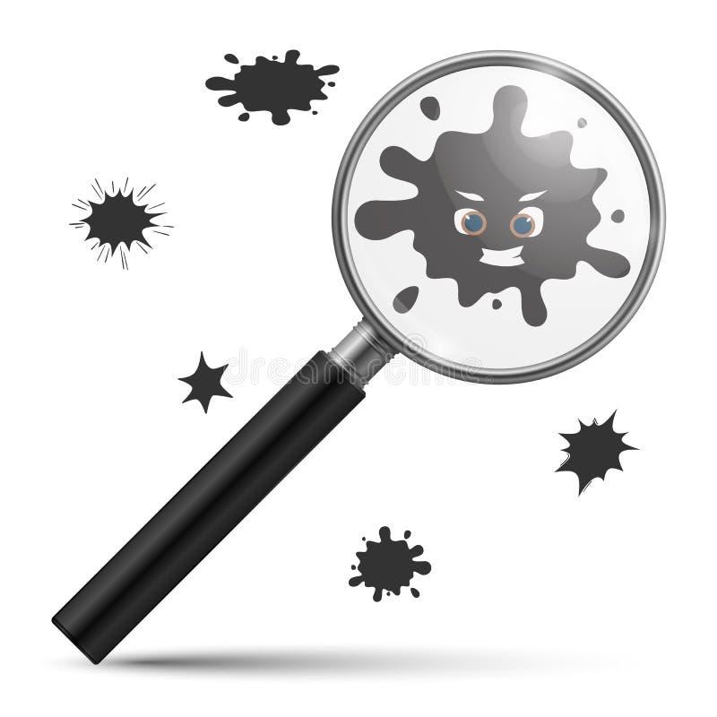 Vergrößerungsbakterien Verschmutzungsinfektions-Mikrobenmikroorganismen oder Computervirus und realistisches Glasvergrößerungsgla vektor abbildung