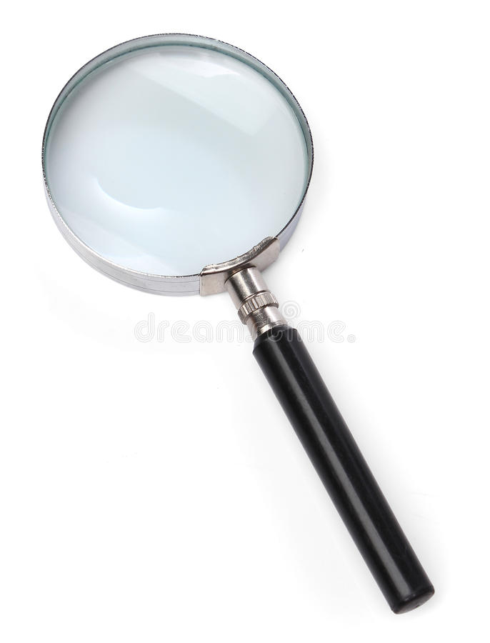 Vergrößerungsglas über Weiß stockfoto