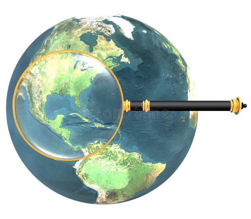 Vergrößerungsglas auf der Erde getrennt stock abbildung