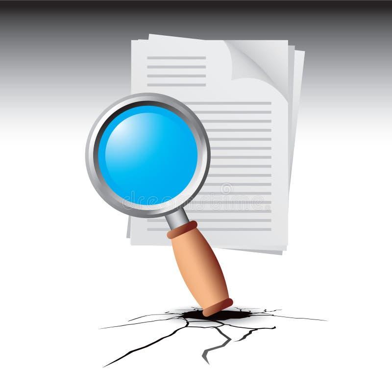 Vergrößerungsglas auf Dokument auf unterbrochenem Boden lizenzfreie abbildung