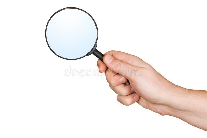 Vergrößerungsglas in der Hand stockfotos