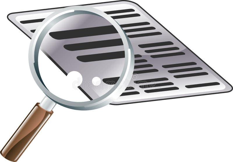 Vergrößerungsglas-Dokumenten-Recherche-Ikonen-Abbildung stock abbildung