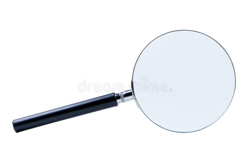 Vergrößerungsglas getrennt auf Weiß stockbild