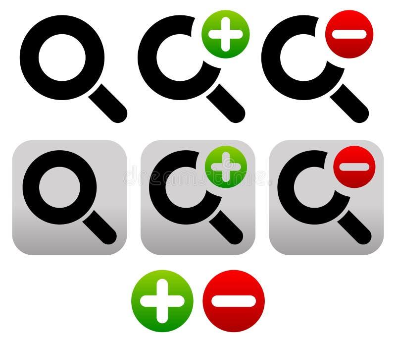 Vergrößerungsglas-Symbol/Ikonen-Satz Herein, summen Zoom-heraus Ikonen laut stock abbildung