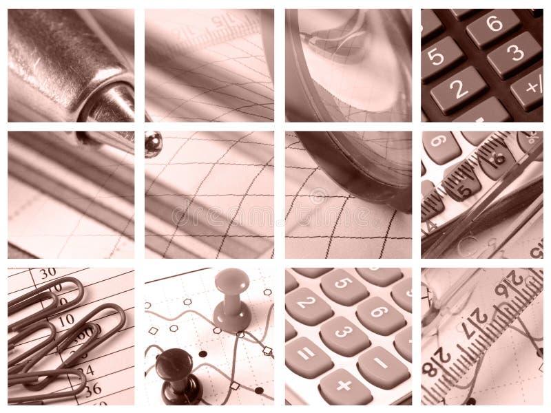 Vergrößerungsglas, Tabellierprogramm, Stifte und Rechner stockbild