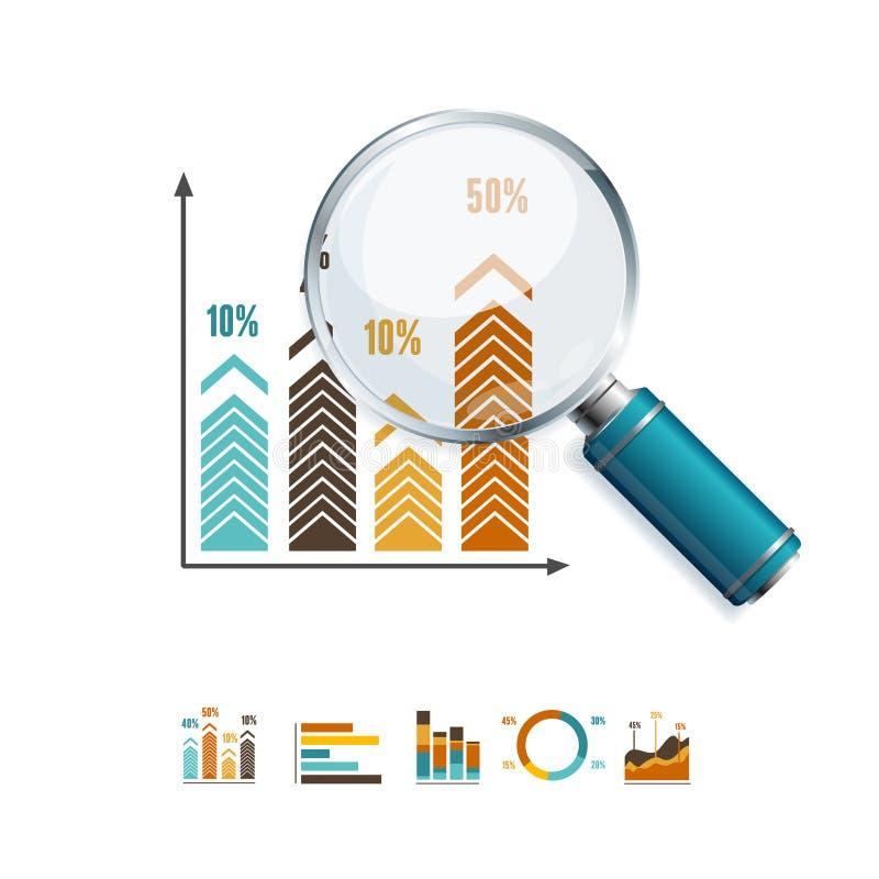 Vergrößerungsglas-und Diagramm-Geschäft Vektor stock abbildung
