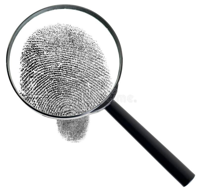 Vergrößerungsglas und Fingerabdruck getrennt auf Weiß stockbilder