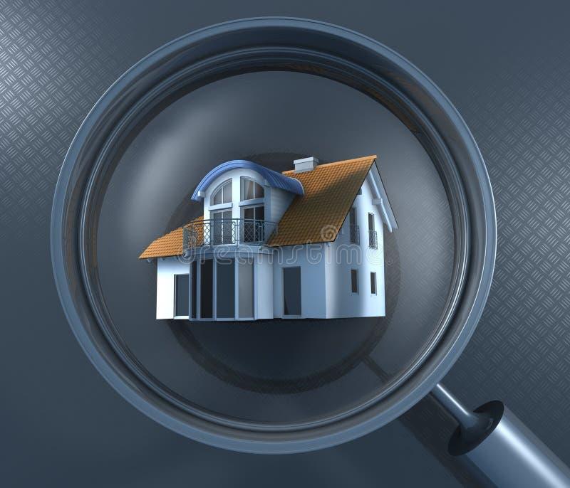 Vergrößerungsglas und Haus lizenzfreie abbildung