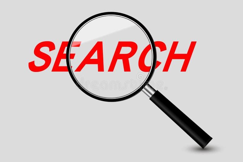 Vergrößerungsglas- und Suchwort stock abbildung