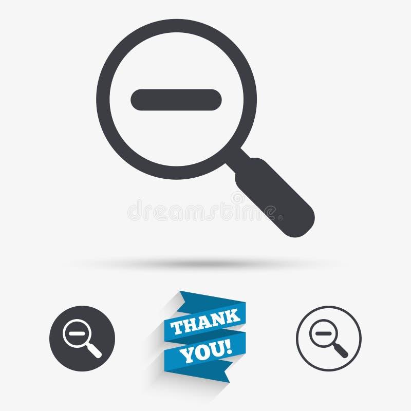 Vergrößerungsglasglaszeichenikone Zoomwerkzeug nearsighted lizenzfreie abbildung