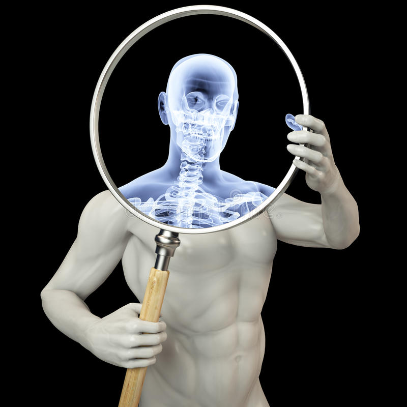 Vergrößerungsglasröntgenstrahl lizenzfreie abbildung