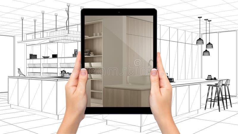 Vergr??ertes Wirklichkeitskonzept Handholdingtablette, AR-Anwendung verwendete, um 3d über Notizbuch mit Planskizze, Architekt zu lizenzfreie abbildung