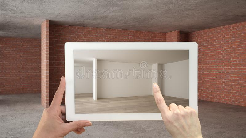 Vergr??ertes Wirklichkeitskonzept Handholdingtablette mit AR-Anwendung verwendete, um M?bel- und Entwurfsprodukte in einem Innenr vektor abbildung