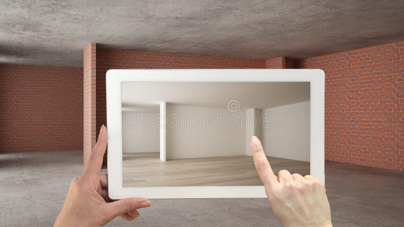 Vergr??ertes Wirklichkeitskonzept Handholdingtablette mit AR-Anwendung verwendete, um M?bel- und Entwurfsprodukte in einem Innenr lizenzfreie abbildung