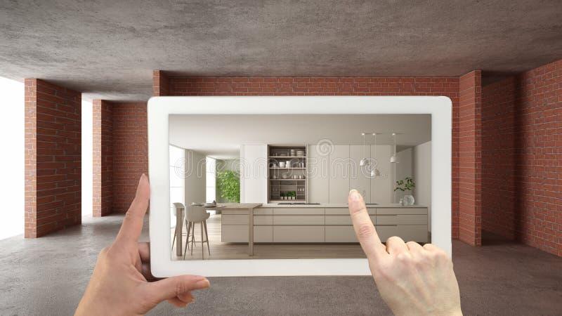 Vergr??ertes Wirklichkeitskonzept Handholdingtablette mit AR-Anwendung verwendete, um M?bel- und Entwurfsprodukte im Innenraum zu stock abbildung