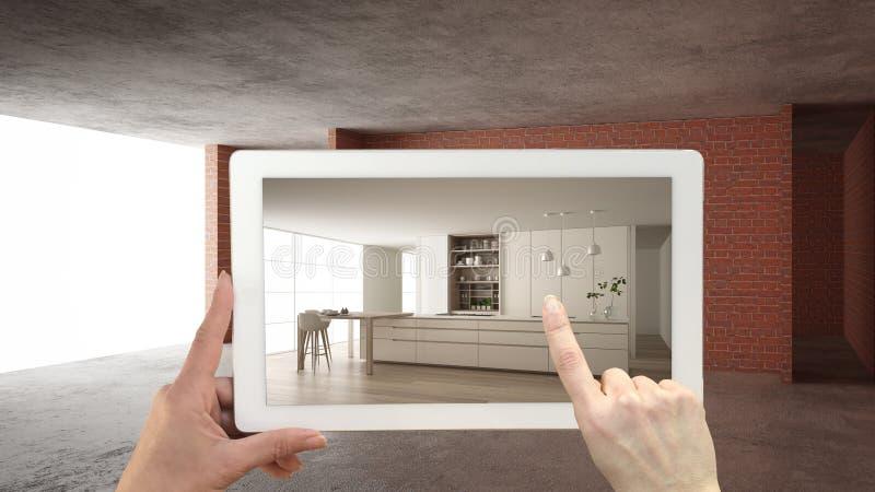 Vergr??ertes Wirklichkeitskonzept Handholdingtablette mit AR-Anwendung verwendete, um M?bel- und Entwurfsprodukte im Innenraum zu lizenzfreie abbildung