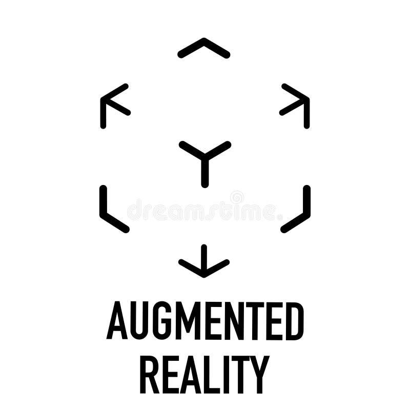 Vergroot virtueel zwart-wit werkelijkheidsembleem vector illustratie