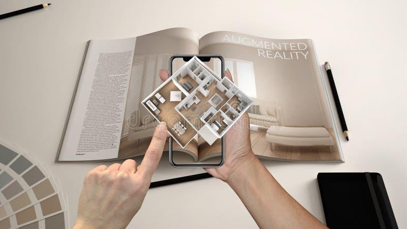 Vergroot werkelijkheidsconcept De tablet van de handholding met de toepassing van AR wordt gebruikt om 3d pop-up interactieve rui royalty-vrije stock foto's