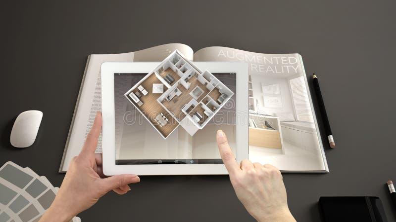 Vergroot werkelijkheidsconcept De tablet van de handholding met de toepassing van AR wordt gebruikt om 3d pop-up interactieve rui royalty-vrije stock afbeelding
