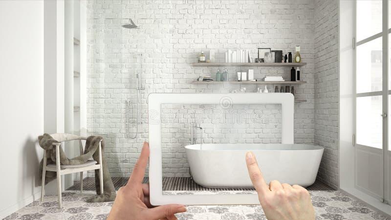 Vergroot werkelijkheidsconcept De tablet van de handholding met de toepassing van AR wordt gebruikt om meubilair en binnenlandse  stock fotografie