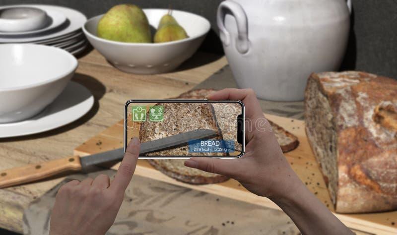 Vergroot werkelijkheidsconcept Hand die de digitale toepassing van het gebruiksar van de tablet slimme telefoon houden om informa royalty-vrije stock fotografie