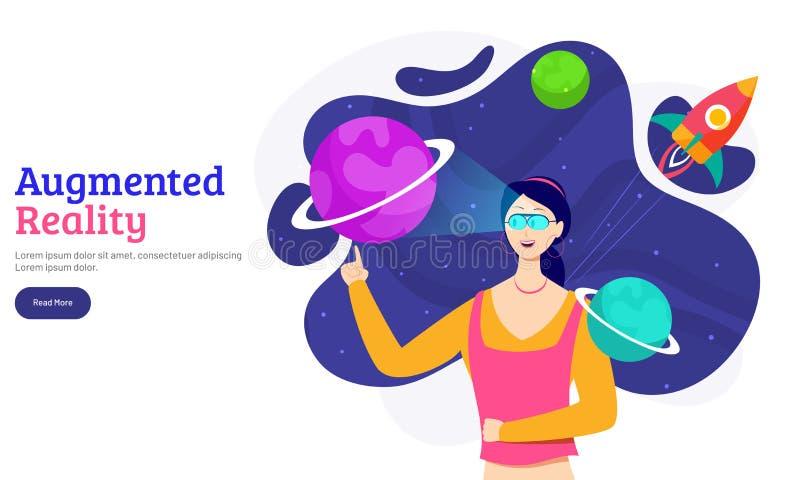 Vergroot Werkelijkheidsconcept met een meisje die met denkbeeldig heelal interactie aangaan vector illustratie