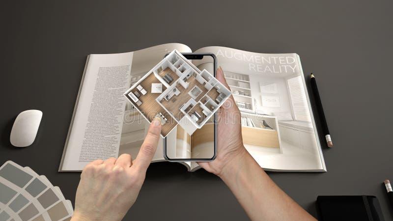 Vergroot werkelijkheidsconcept Smartphone van de handholding met de toepassing van AR wordt gebruikt om 3d pop-up interactieve hu royalty-vrije stock afbeelding