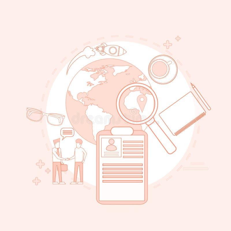 Vergrootglas Bedrijfsmensen die Job Resume Recruitment zoeken royalty-vrije illustratie