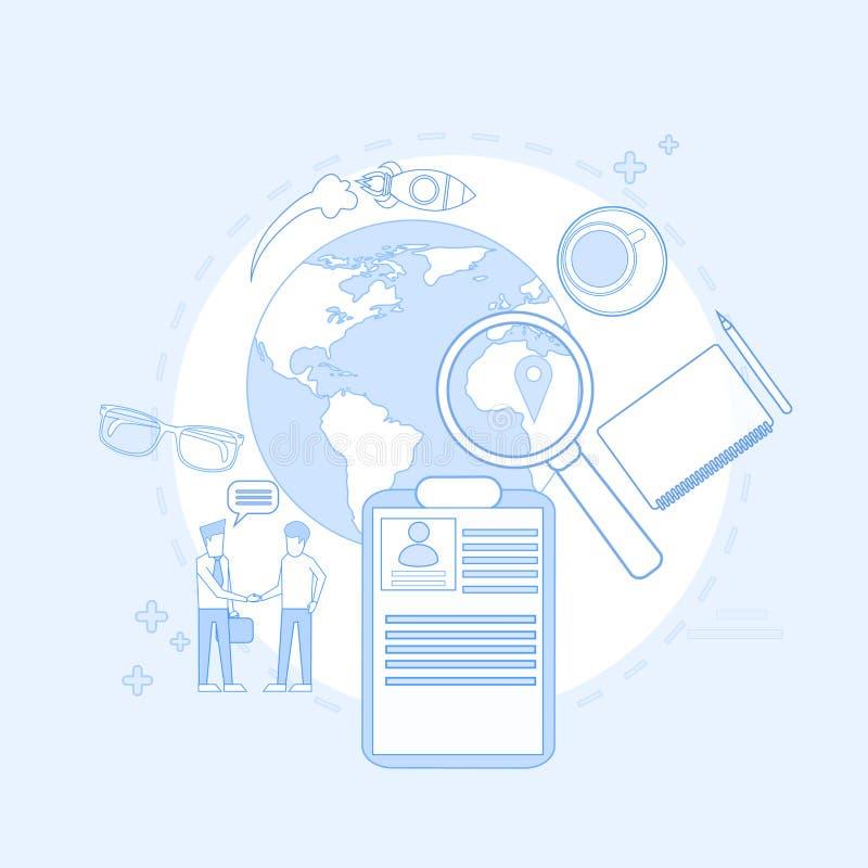 Vergrootglas Bedrijfsmensen die Job Resume Recruitment zoeken vector illustratie