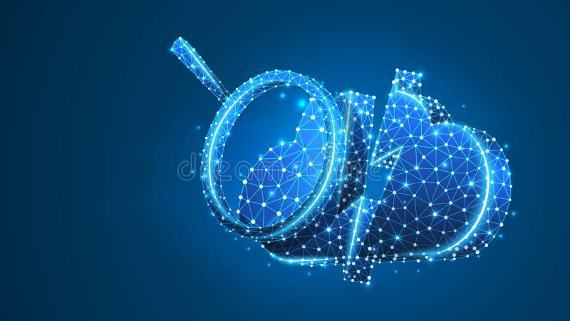 Vergrootglas bij de Wolkenopslag Gegevenstoegang, Internet-het concept van de serveranalyse Digitale samenvatting, wireframe, laa stock illustratie