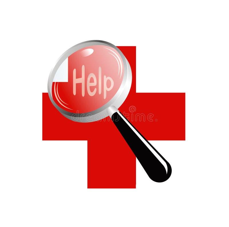 Vergrootglas een rood kruishulp vector illustratie