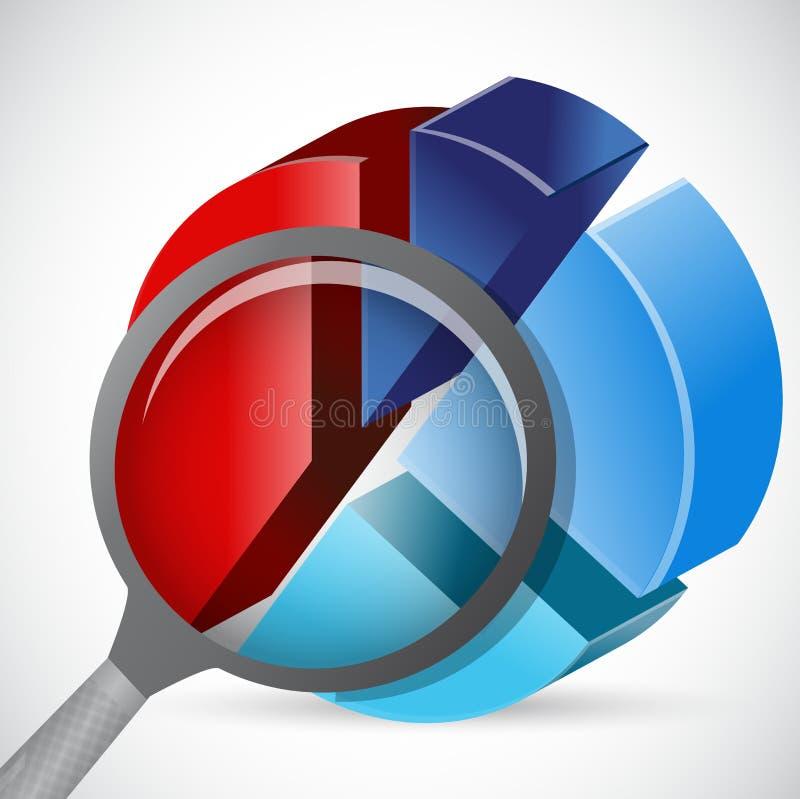 Vergrootglas en cirkeldiagram vector illustratie