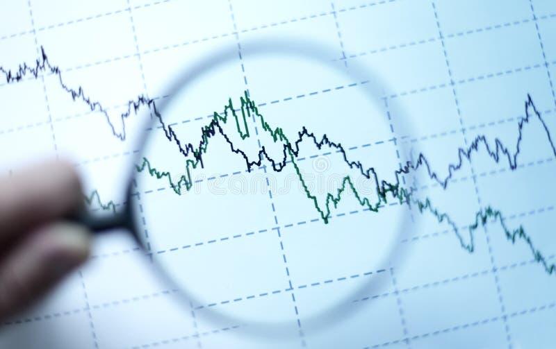 Vergrootglas en diagram royalty-vrije stock foto