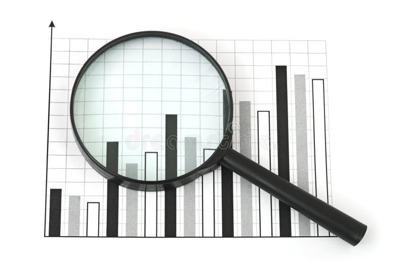 Vergrootglas en diagram stock foto's
