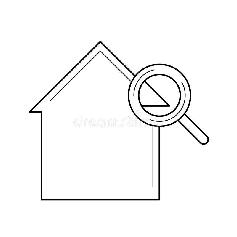 Vergrootglas en huislijnpictogram vector illustratie
